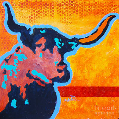 Electric Longhorn Poster by Ron Stephens