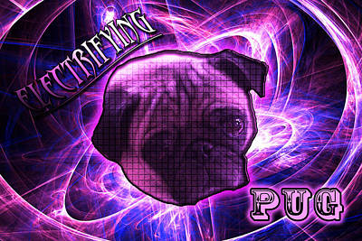 Electrifying Pug Poster