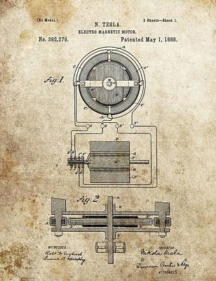 Electro Magnetic Motor Tesla Patent Poster by Dan Sproul