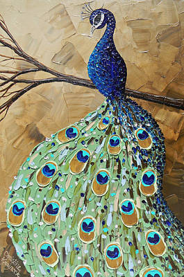 Elegantly Perched Peacock Poster by Christine Krainock