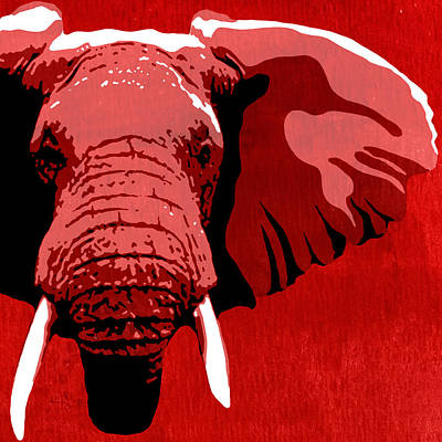 Elephant Animal Decorative Red Wall Poster 11   - By Diana Van Poster by Diana Van