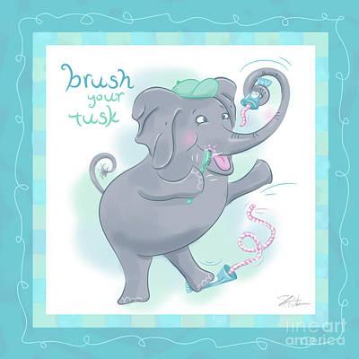 Elephant Bath Time Brush Your Tusk Poster