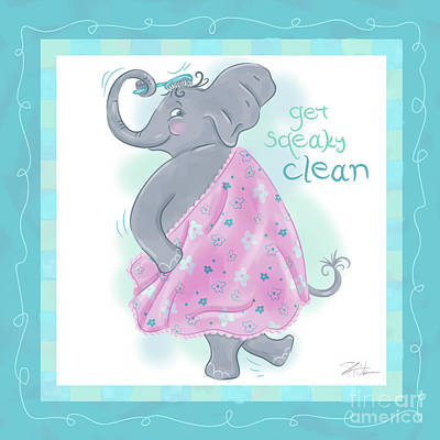 Elephant Bath Time Squeaky Clean Poster by Shari Warren