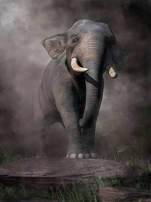Poster featuring the digital art Elephant by Daniel Eskridge