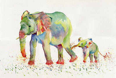 Elephant Family Watercolor  Poster