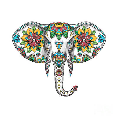Elephant Head Mandala Tattoo Poster by Aloysius Patrimonio