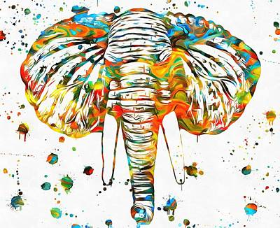 Elephant Head Paint Splatter Poster by Dan Sproul