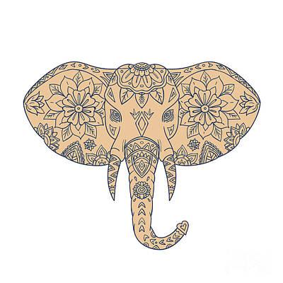 Elephant Head Tusk Mandalaa Poster by Aloysius Patrimonio