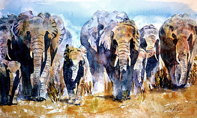 Poster featuring the painting Elephant Herd by Steven Ponsford