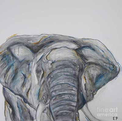 Elephant In Blue And Orange Poster