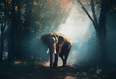 Elephant In The Mist - Painting Poster