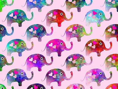Elephant Party Poster by Kathleen Sartoris