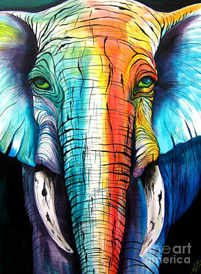 Elephant Rainbow Poster by Abbi Kay