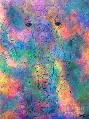 Poster featuring the painting Elephant Spirit by Denise Tomasura