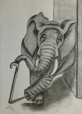 Poster featuring the drawing Elephant Still Waiting by Kelly Mills