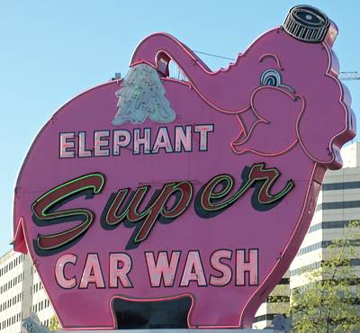 Elephant Super Car Wash Poster by Randall Weidner