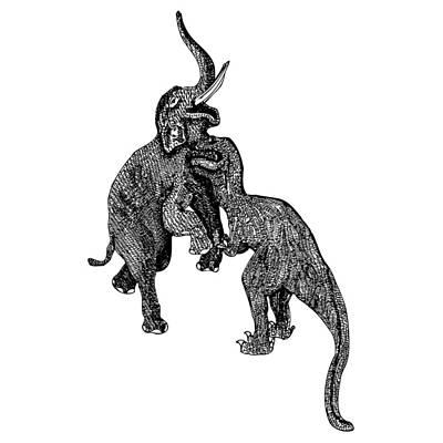 Elephant Vs T-rex Poster