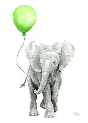 Elephant Watercolor Green Balloon Kids Room Art  Poster