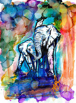 Elephants On Parade Poster by Jordan  Bodenhamer Barnard