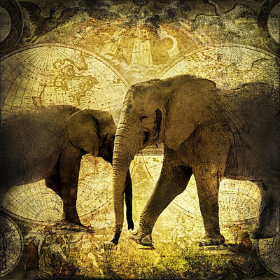 Elephants Roam The Earth Vintage Grunge Poster