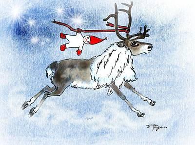 Elf And Reindeer Poster