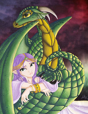 Elf Girl And Dragon Poster