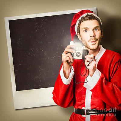 Elf Taking Christmas Photo With Santa Poster