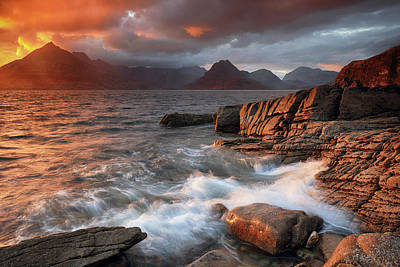 Poster featuring the photograph Elgol Stormy Sunset by Grant Glendinning