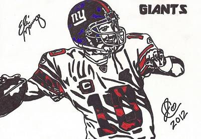 Poster featuring the drawing Eli Manning by Jeremiah Colley