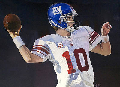 Eli Manning New York Giants Poster by Michael  Pattison