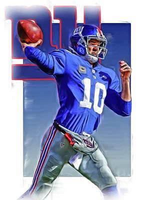 Eli Manning New York Giants Oil Art 2 Poster by Joe Hamilton