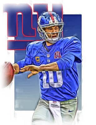 Eli Manning New York Giants Oil Art Poster by Joe Hamilton