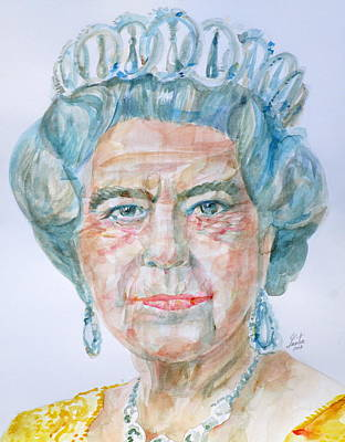 Poster featuring the painting Elizabeth II - Watercolor Portrait.2 by Fabrizio Cassetta