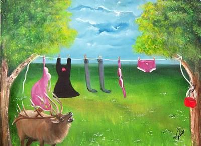 Elk Trouble Poster by Joni McPherson