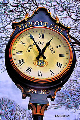 Ellicott City Clock Poster by Stephen Younts