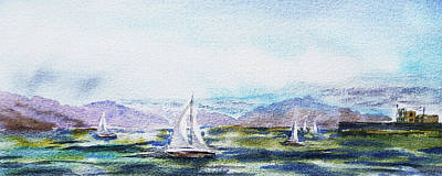 Elongated Seascape Painting Poster