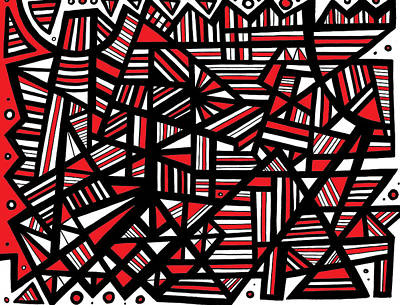 Eloquence Abstract Art Red White Black Poster by Eddie Alfaro
