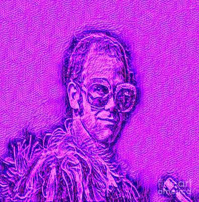 Elton In Purple Poster by Pd