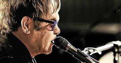 Elton John At The Mic Poster by Elaine Plesser