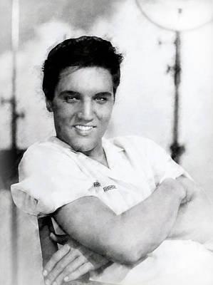 Elvis Presley Charcoal Poster by Daniel Hagerman