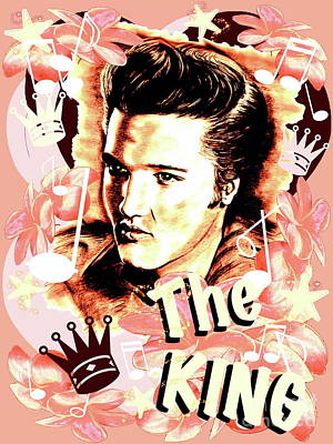 Elvis The King In Salmon Red Poster