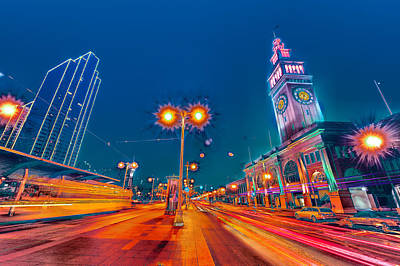 Poster featuring the photograph Embarcadero Lights by Steve Siri