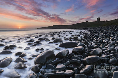 Embleton Bay And Dunstanburgh Castle At Dawn Poster by Rod McLean
