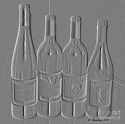 Embossed Wine Bottles Poster by Donna Bentley