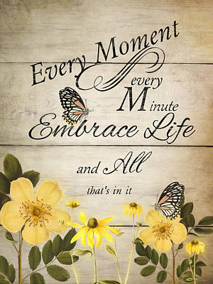Poster featuring the digital art Embrace Life by Robin-Lee Vieira