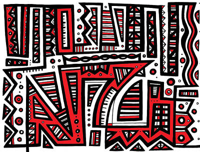 Embrocation Abstract Art Red White Black Poster by Eddie Alfaro