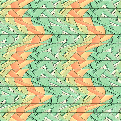 Emerald And Salmon Pattern Poster by Gaspar Avila