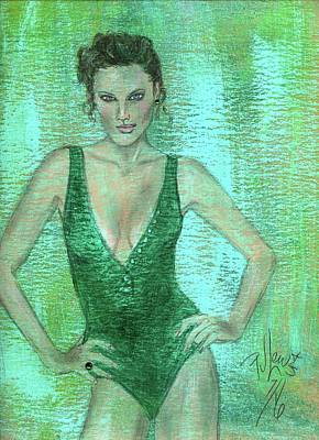 Poster featuring the painting Emerald Greem by P J Lewis