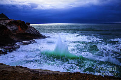 Emerald Wave Poster by Jerry Cowart