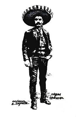 Poster featuring the drawing Emiliano Zapata by Antonio Romero